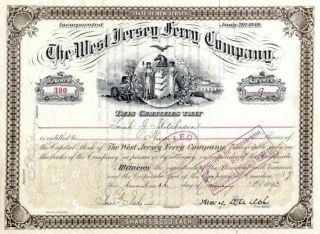 1893 West Jersey Ferry Stock Certificate photo