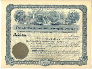 Caribou Mining & Development Company Stock Certificate Shawnee Ohio W.  V photo