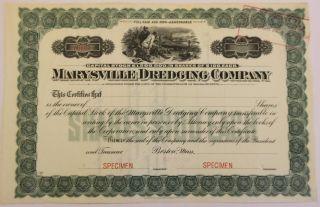 1907 Marysville Dredging Co.  Specimen Stock Cert.  Yuba,  California Gold Mining photo