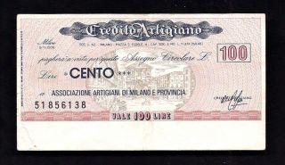 Italy Credito Artigiano 100 Lire 1976 Check photo