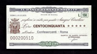 Italy Il Banco Di Santo Spiritu 150 Lire 1976 Check photo