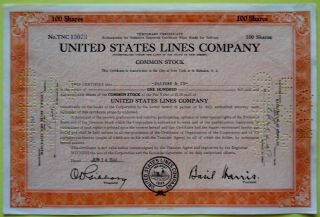 1944 United States Lines Co Stock Cert 100 Shares photo