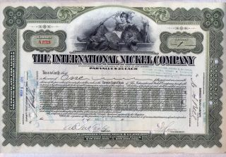 International Nickel Company Of Canada Stock Certificate Older photo
