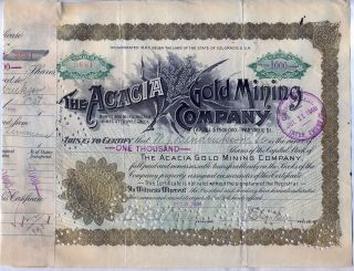 Acacia Gold Mining Company Stock Certificate Cripple Creek photo