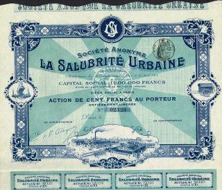 France Urban Sanitation Company Stock Certificate 1904 photo