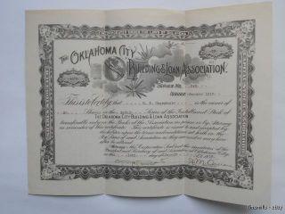 1919 Oklahoma City Building Loan Stock Certificate photo