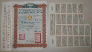 China Lung - Tsing - U - Hai Railroad 8% Bond 1000 Dutch Guilders 1920 +coupons photo