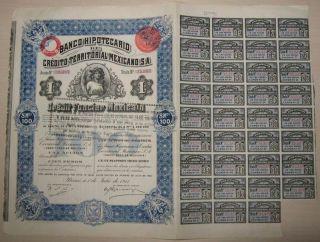 Mexico Banco Hipotecario De Credito Territorial Mexicano 1911 Queen Elizabeth photo