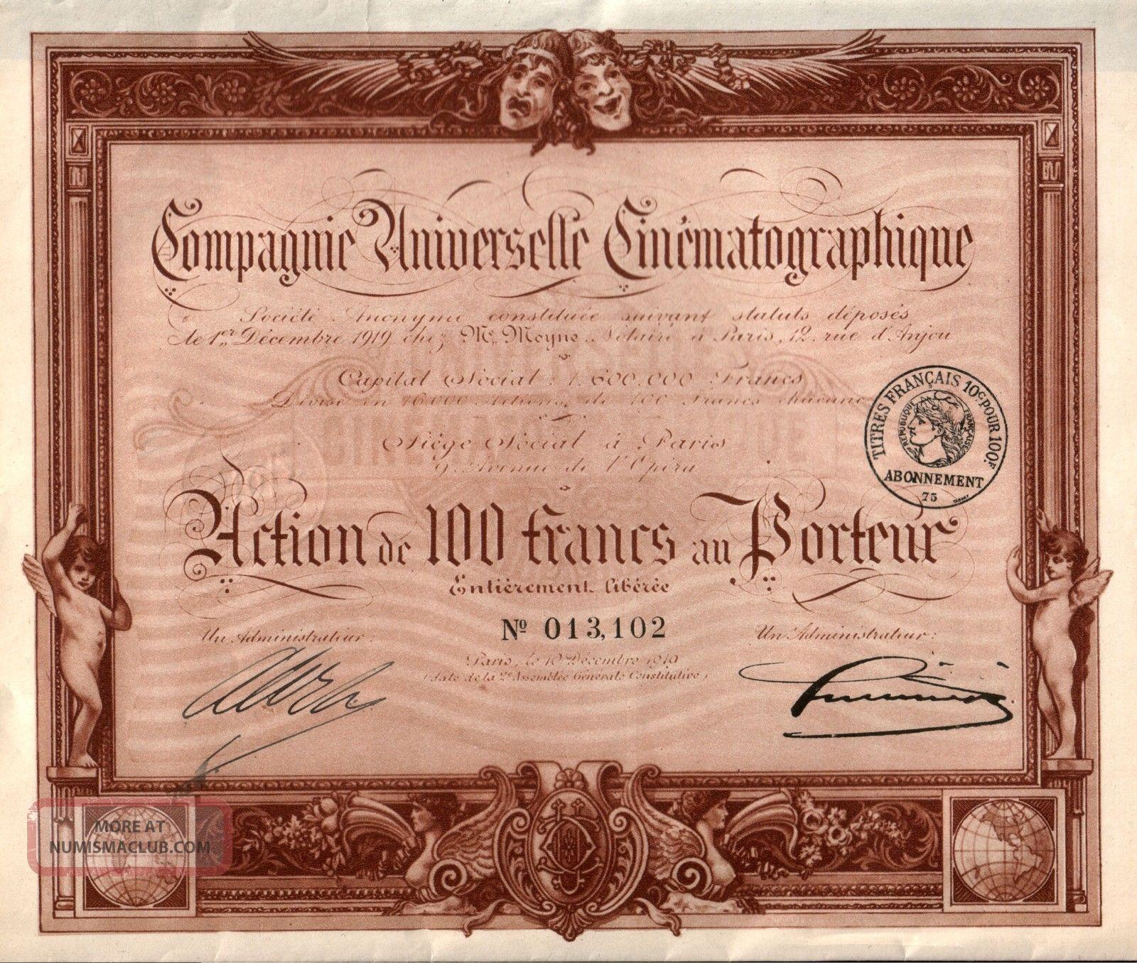Sepia Tone 1910 Art Nouveau French Film Co Bond W Coupons Retail Val $150 Stocks & Bonds, Scripophily photo