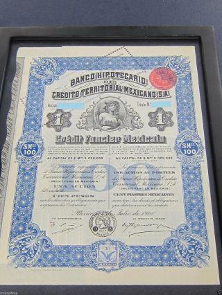 Mexico Banco Hipotecario De Credito Territorial Mexicano 1908 photo