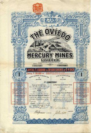 Spain: The Oviedo Mercury Mines Ltd.  Share 1907 photo