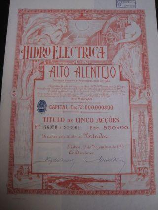 Hydroelectric Alto Alentejo - Five Share Certified 1945 photo