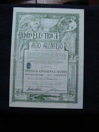Hydroelectric Alto Alentejo - Fifty Share Certified 1972 photo