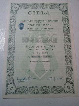 Cidla Industrial And Domestic Fuel - Five Share Certified 1973 photo