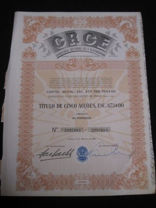 Collected Gas And Electricity Companies - Five Share Certified 1960 photo