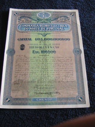 Hydroelectric Company Of Northern Portugal - One Share Certified 1968 photo