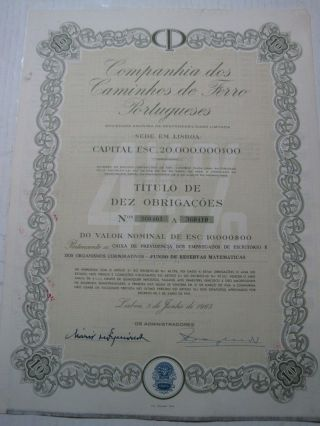 Company Of Portuguese Railways - Ten Dutys Share Certified 1965 photo