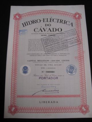 Hydroelectric Of Cavado Portugal - One Share Certified 1967 photo