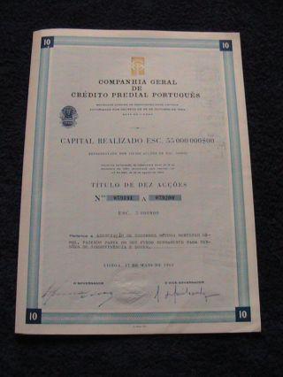 Company General Crédito Predial Portuguese - Ten Share Certified - 1963 photo