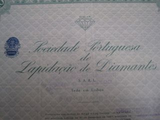 Portuguese Society Of Lapidary Diamond - Ten Share Certified - 1965 Portugal photo
