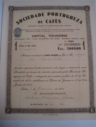 Portuguese Coffees Company - One Share Certified - 1935 Portugal photo