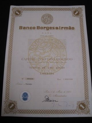 Bank Borges & Irmão - One Share Certified 1973 photo