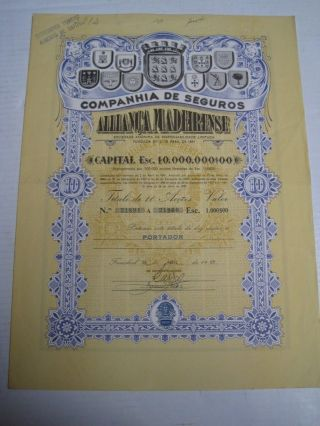 Insurance Company Alliança Madeirense - Ten Share Certified 1969 photo