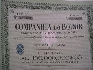Company Of Boror - One Share Certified - Rare photo