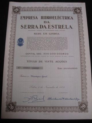 Hydroelectric Company Of Serra Da Estrela - Twenty Share Certified 1972 photo