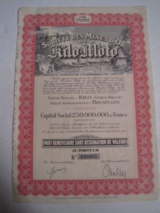 Societies Mines Gold Kilo - Moto - One Share Certified 1944 photo
