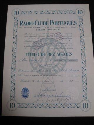 Portuguese Radio Club - Ten Share Certified 1967 photo