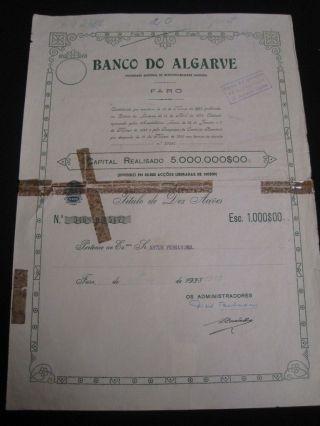 Bank Of Algarve - Ten Share Certified 1945 photo