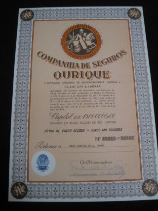 Insurance Company Ourique - Five Share Certified 1974 ? photo