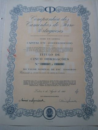 Company Of Portuguese Railways - Five Dutys Share Certified 1968 photo