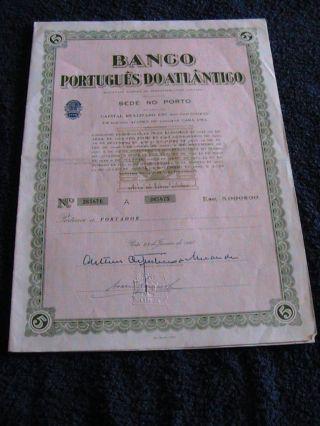 Portuguese Bank Atlantic - Five Share Certified 1967 photo