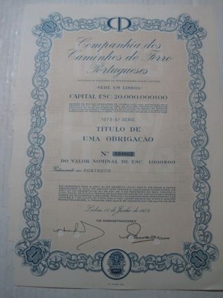 Company Of Portuguese Railways - One Dutys Share Certified 1973 photo