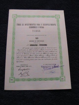 Investment Fund For Economic Development Social - Fifty Certified Share 1965 photo