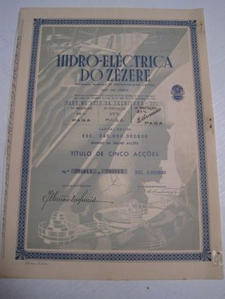 Hydroelectric Of Zêzere - Five Share Certified 1951 photo