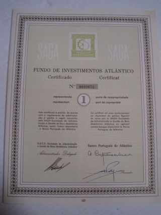 Investment Fund Atlantico - One Certified Share 1965 photo