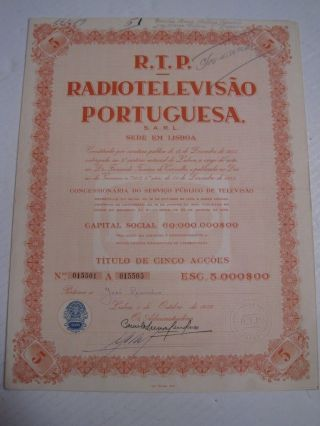 R.  T.  P Radio And Television Portuguese - Five Share Certified - 1956 photo
