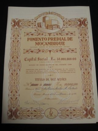 Fomento Predial Of Of Mozambique - Ten Share Certified - 1958 photo