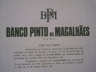 Bank Pinto De Magalhães - One Share Certified - 1972 photo