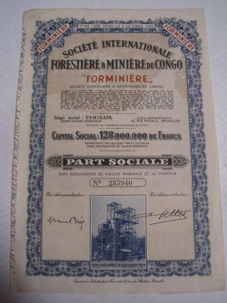 International Society Of Mineral And Forest Congo - One Share Certified 1944 photo