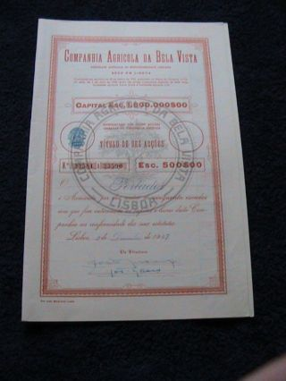 Agricultural Company Of Bela Vista - Ten Share Certified 1947 photo
