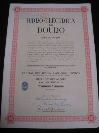 Hydroelectric Douro - Ten Share Certified 1967 photo