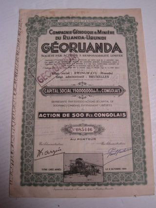 Geological And Mineral Company Ruanda - One Share Certified 1944 photo
