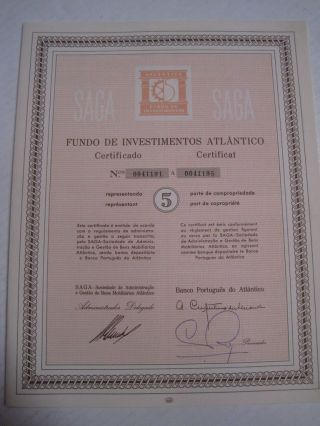 Investment Fund Atlantico - Five Certified Share 1965 photo