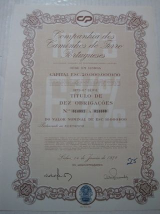 Company Of Portuguese Railways - Ten Dutys Share Certified 1974 photo