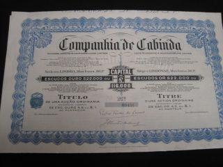 Company Cabinda - One Share Certified 1929 photo