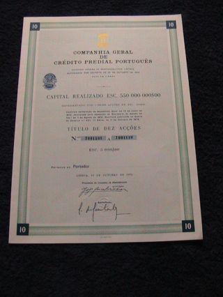 Company General Crédito Predial Portuguese - Ten Share Certified - 1972 photo